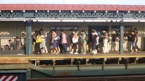 30 Ave station around 6:30 on a Monday